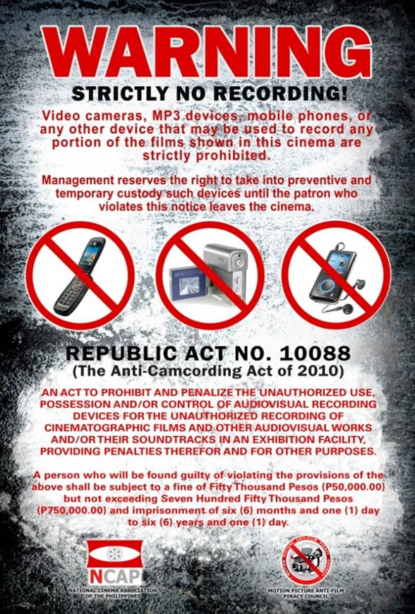 Terms Of Use >> Anti-Camcording Campaigns - Fight Film Theft